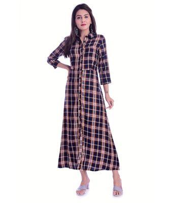 Checks Design Viscose Fabric A-Line Kurti