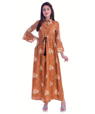Brown Color Rayon Fabric Full Layer Kurti