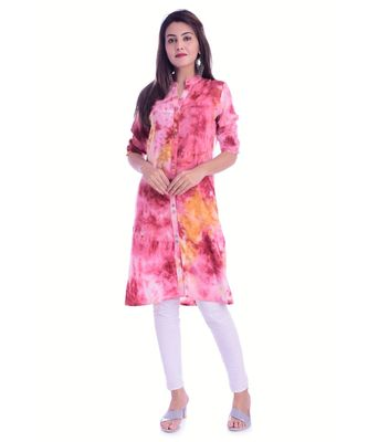 Pink Color Rayon Fabric Tie & Dye Straight Kurti