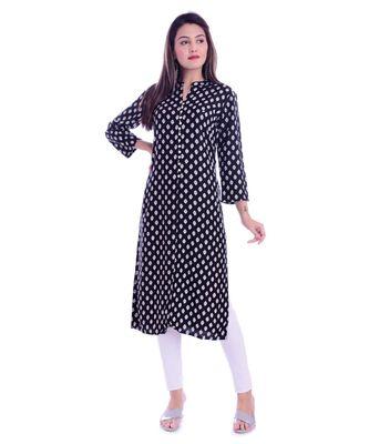 Black Color Rayon Fabric Straigh Printed Kurti