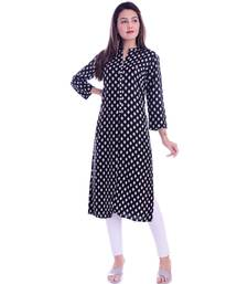 Black Color Rayon Fabric Straigh Printed Kurti