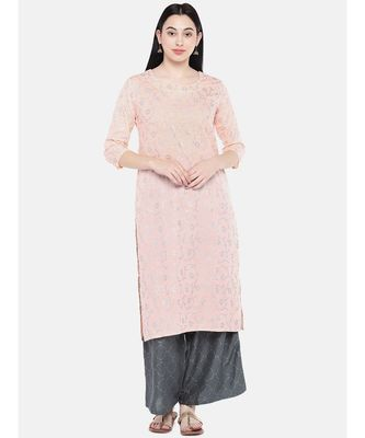 Peach printed Cotton Kurta and Palazzo Set
