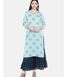 Green embroidered Rayon Kurta and Sharara Set