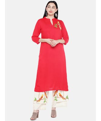 Red embroidered Rayon Kurta and Palazzo Set