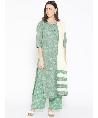 Green printed Cotton Kurta Palazzo and Dupatta Set