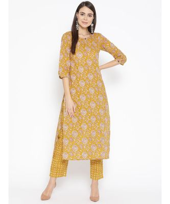 Yellow printed Cotton Kurta and Pant Set