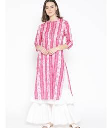 Pink embroidered Cotton Kurta and Sharara Set