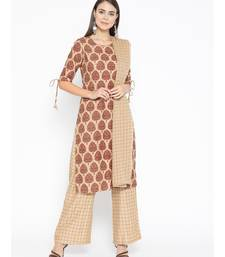 Brown printed Cotton Kurta Palazzo and Dupatta Set
