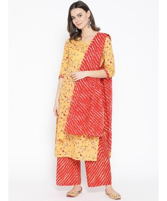 Yellow printed Cotton Kurta Palazzo and Dupatta Set