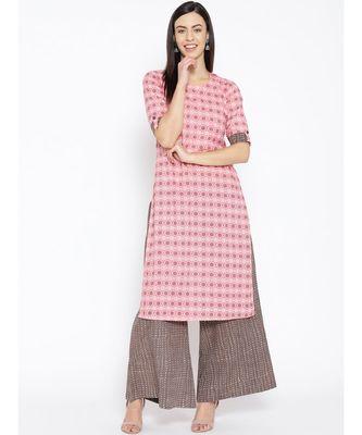 Pink printed Cotton Kurta and Palazzo Set
