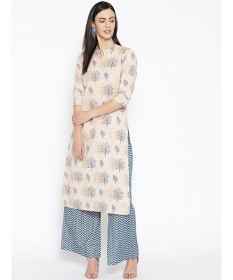 White printed Cotton Kurta and Palazzo Set
