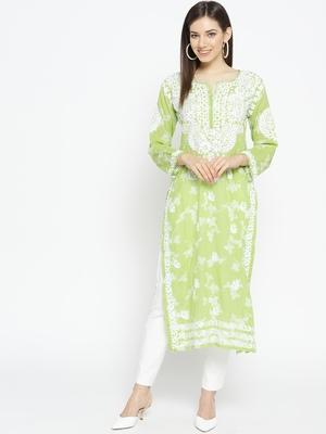 Hand Embroidered Green Cotton Lucknow Chikankari Kurti