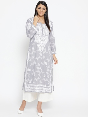 Hand Embroidered Grey Cotton Lucknow Chikankari Kurti