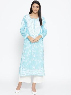 Hand Embroidered Blue Cotton Lucknow Chikankari Kurti
