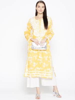 Hand Embroidered Yellow Cotton Lucknow Chikankari Kurti