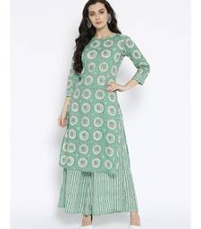 Green printed Cotton Kurta and Palazzo Set