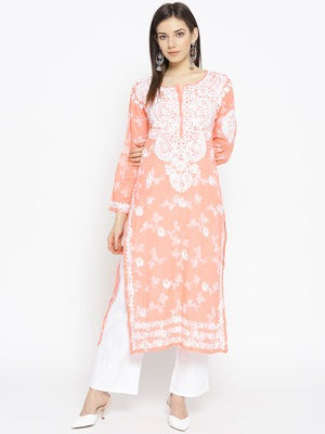 Hand Embroidered Peach Cotton Lucknow Chikankari Kurti