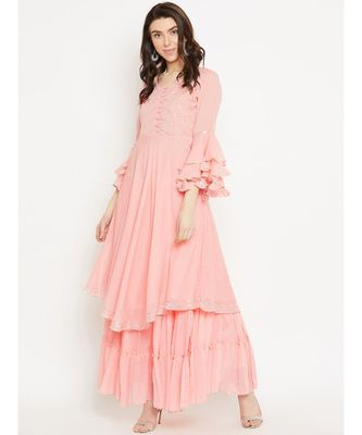 Peach plain Cotton Kurta and Skirt Set