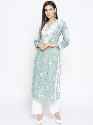 Hand Embroidered Fawn Blue Cotton Lucknow Chikankari Kurti