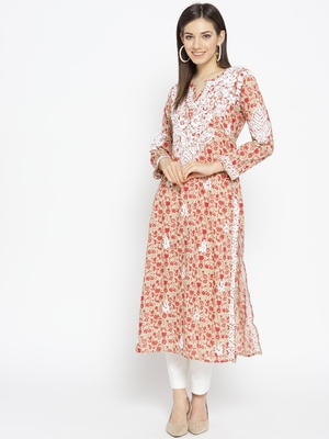 Hand Embroidered Fawn Red Cotton Lucknow Chikankari Kurti