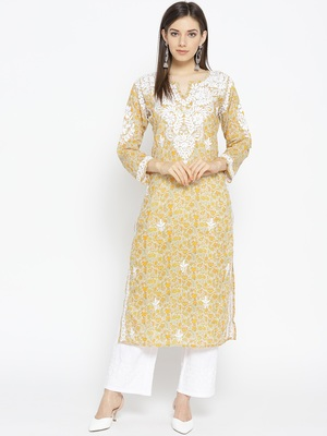 Hand Embroidered Fawn Yellow Cotton Lucknow Chikankari Kurti
