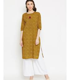 Brown printed Cotton Kurta and Palazzo Set