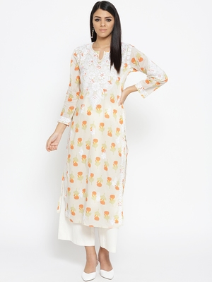 Hand Embroidered Fawn Orange Cotton Lucknow Chikankari Kurti-