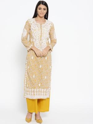Hand Embroidered Fawn Yellow Cotton Lucknow Chikankari Kurti-