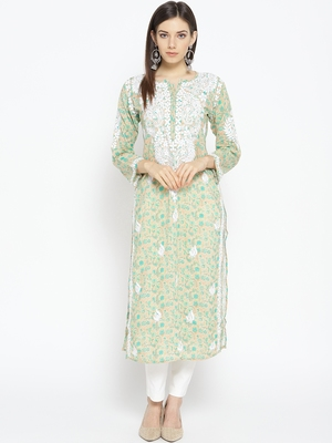 Hand Embroidered Fawn Green Cotton Lucknow Chikankari Kurti-