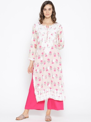 Hand Embroidered Fawn Pink Cotton Lucknow Chikankari Kurti-