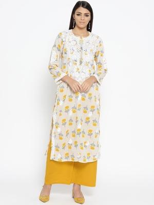 Hand Embroidered Fawn Yellow Cotton Lucknow Chikankari Kurti