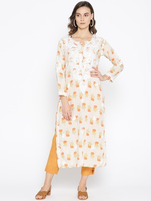 Hand Embroidered Fawn Yellow Cotton Lucknow Chikankari Kurti-