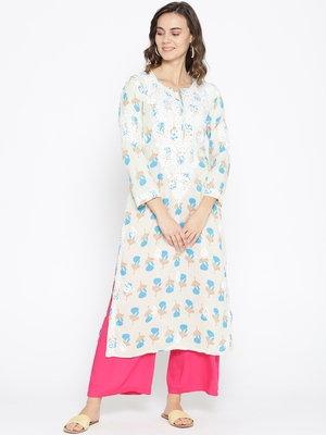 Hand Embroidered Fawn Blue Cotton Lucknow Chikankari Kurti-