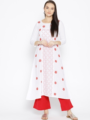 Hand Embroidered White Cotton Lucknow Chikankari Kurti