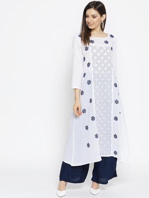 Hand Embroidered White Cotton Lucknow Chikankari Kurti
