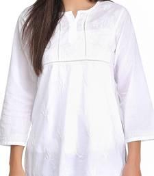 Hand Embroidered White Cotton Lucknowi Chikankari Top
