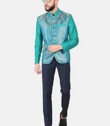 Peacock Green Brocade Bandhgala Jacket