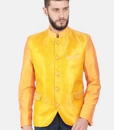Yellow Brocade Bandhgala Jacket