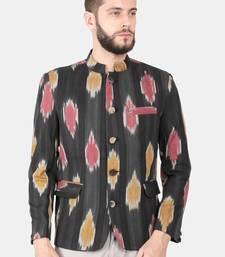 Black Cotton Ikat Bandhgala Jacket