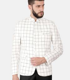 White Cotton Checked Bandhgala Jacket