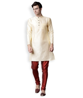 Off White & Red Solid Dupion Kurta Set