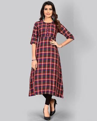 women's checkered a-line rayon red kurti