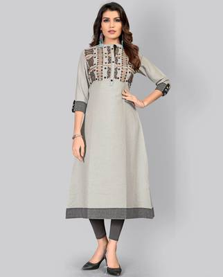 women's embroidered/solid a-line cotton grey kurti