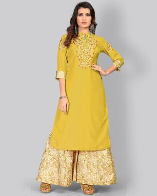 Women's Embroidered/Solid Straight Muslin Olive Green Kurti With Sharara Set