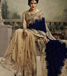 Buy navy blue and chiku embroidered velvet saree with blouse bridal-saree online