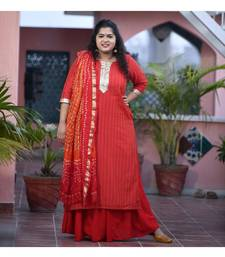 Red Weave kurta with duppata