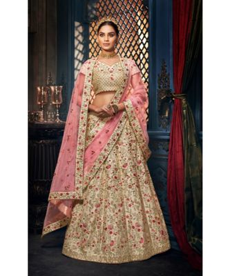 cream dupion silk ethnic-lehengas with blouse