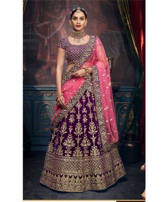 purple dupion silk ethnic-lehengas with blouse