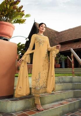 Yellow embroidered santoon salwar