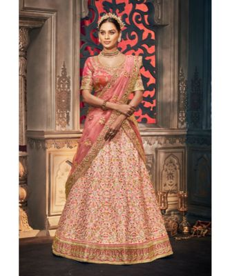 baby-pink dupion silk ethnic-lehengas with blouse